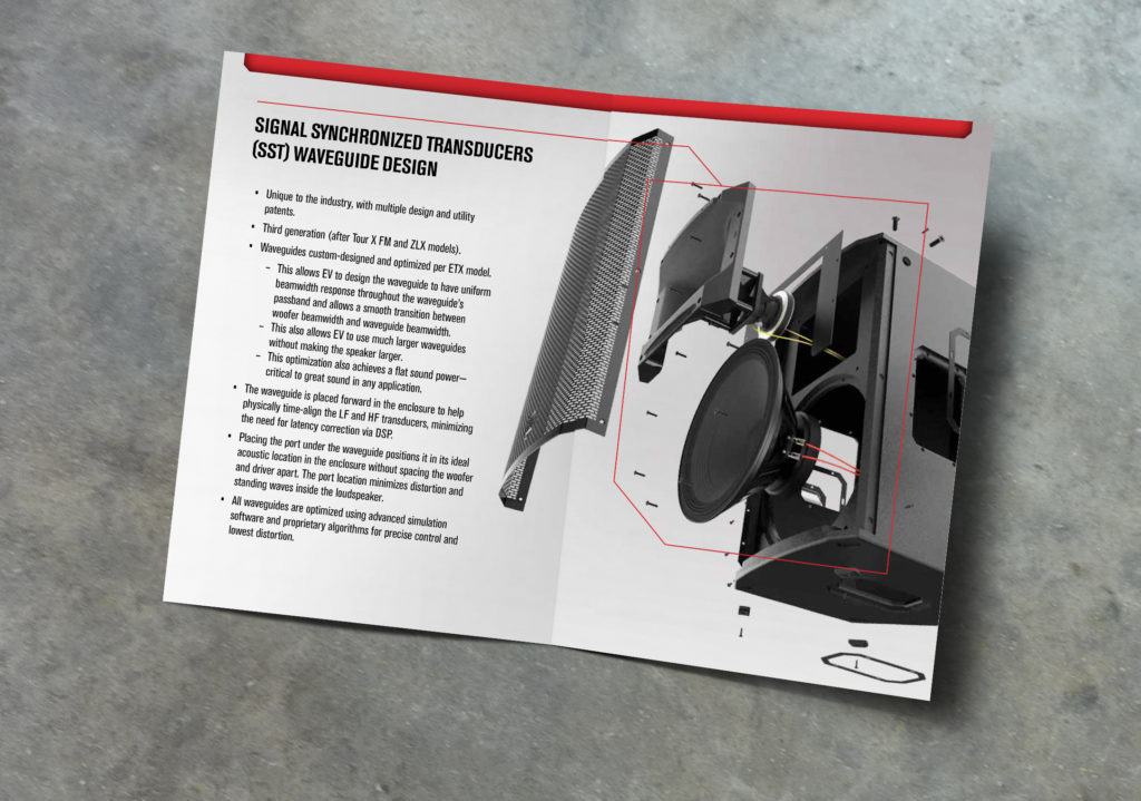 Inside spread with exploded view of loudspeaker